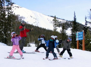 family ski trips, photo by Lonnie Ball at Big Sky Resort