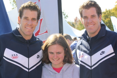 Tyler and Cameron Winklevoss with Justine Seligson